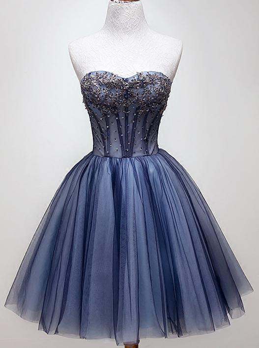 Sweetheart Beading Blue Homecoming Dress, Tulle Short Graduation Dress GM85