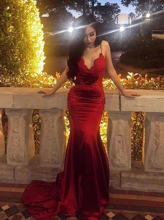 Spaghetti straps backless prom dress mermaid burgundy long evening gown mg247