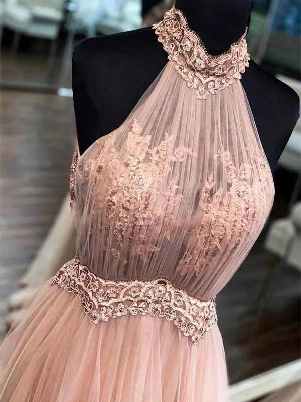 Chic halter formal prom dress tulle lace appliques a line evening dress mg240