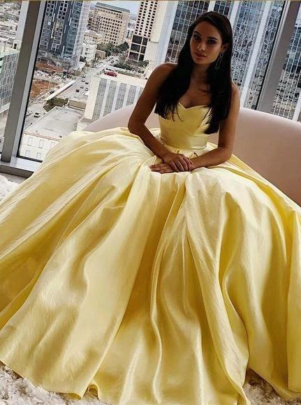 Simple sweetheart yellow prom dresses long cheap formal dress mg239