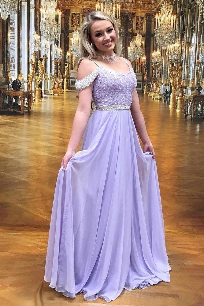 A-line lilac long prom dresses chiffon evening dress with beading mg276