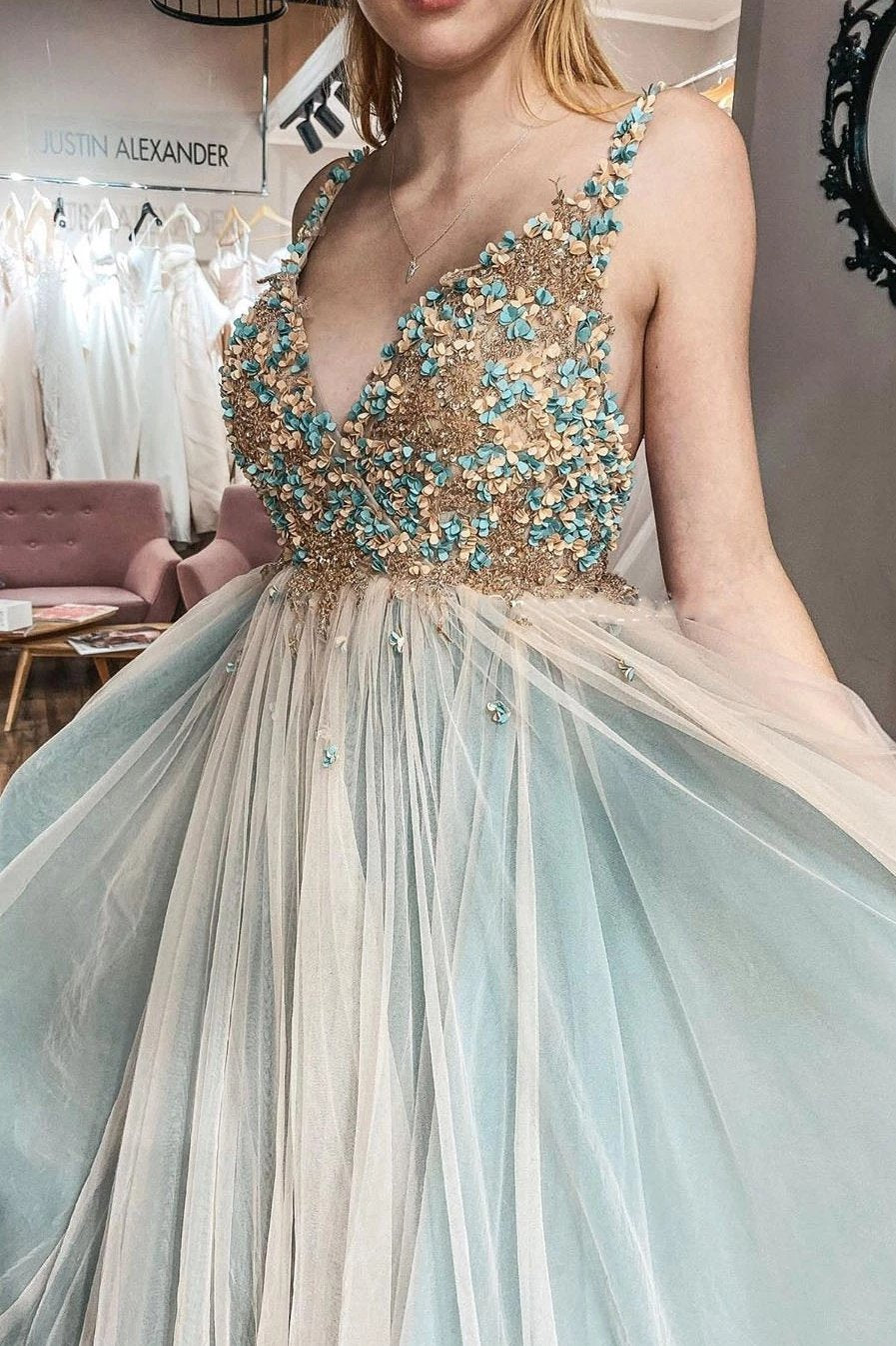 A-line v neck tulle beading prom dresses plus size evening dress mg277
