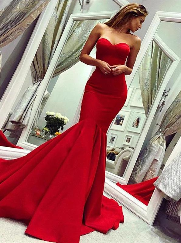 Red mermaid prom dress sweetheart sexy long evening dress mg287