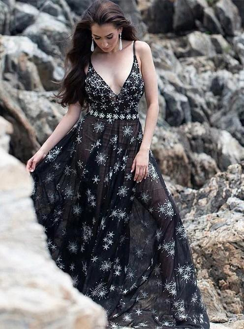 Starry night black prom dress long v neck tulle evening dress mg264