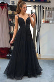 A-line V-neck Tulle Black Prom Dresses Backless Formal Gown With Beading MP42