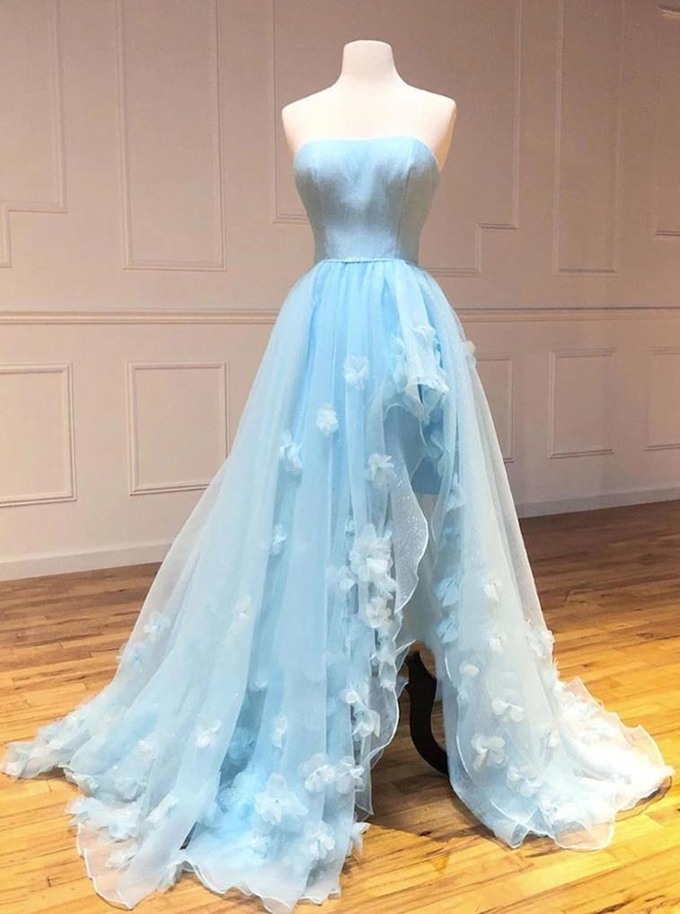 Light Sky Blue Tulle Strapless Long Prom Dresses With Hand-make Flowers MP38