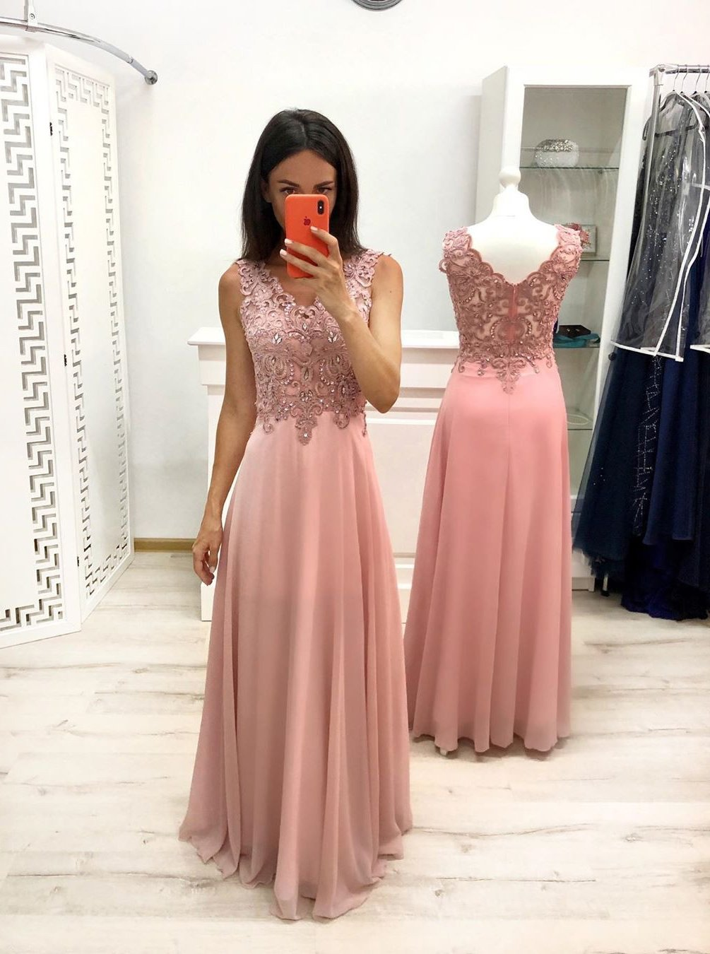A-line V-neck Appliques Long Prom Dresses Chiffon Wedding Party Gown MP44
