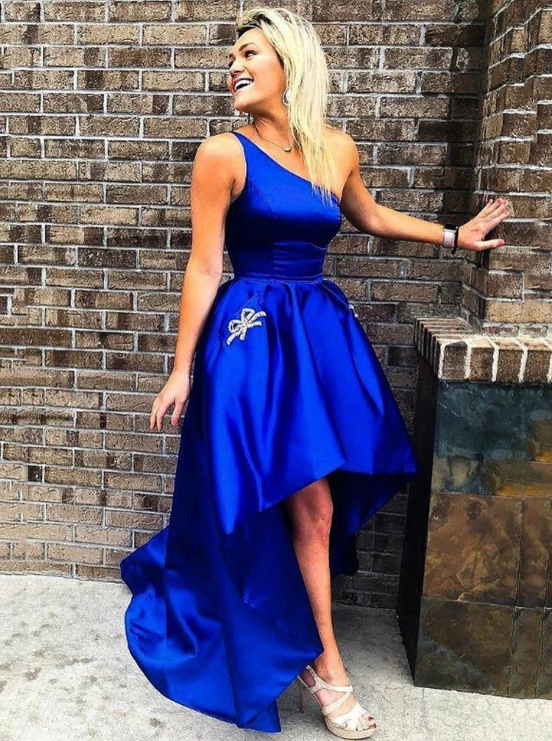 One-shoulder Royal Blue High Low Simple Prom Dresses With Beaded Pockets MP26