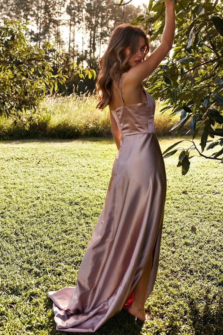 Long Simple Prom Dresses with Straps, Sexy Split Evening Dress MP28