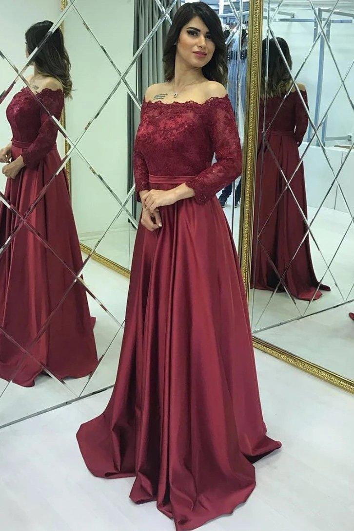 Modest Lace Long Sleeves Satin Burgundy Prom Evening Dresses MP65