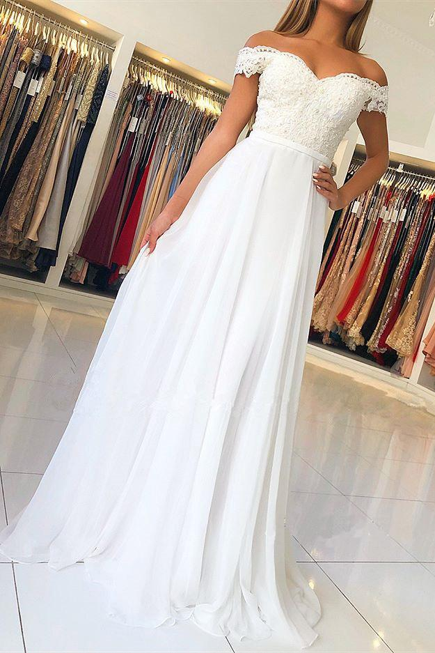 Off-the-Shoulder Chiffon Long Prom Dress With Beading Appliqued MP330