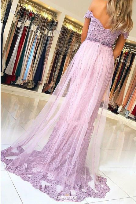 off shoulder tulle lace mermaid prom dress with beaded appliques mp773