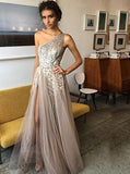 sexy one shoulder a line sequins evening dress with beads long split prom dress mp1016