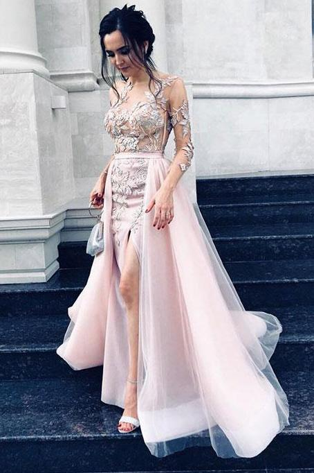 overskirt tulle prom dress jewel long sleeves with appliques split sheath evening dresses mp941