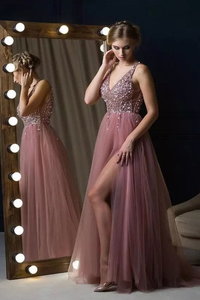 dusty pink long prom dresses elegant beaded bodice evening gown mp824