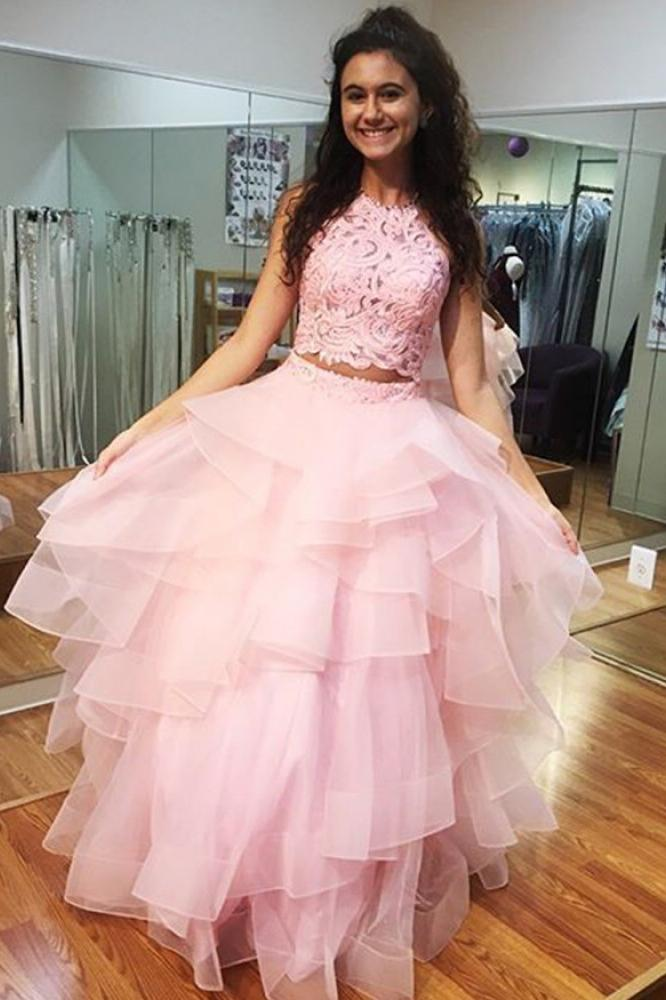 Pink Prom Dress High Neck Lace Bodice Ruffled Two Piece Ball Gown MP697