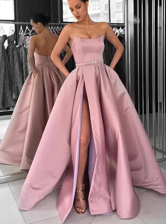 pink strapless prom dress a line long formal gown with high slit mp852