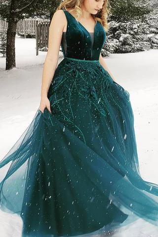 princess ball gown v neck dark green backless long prom dress mp834