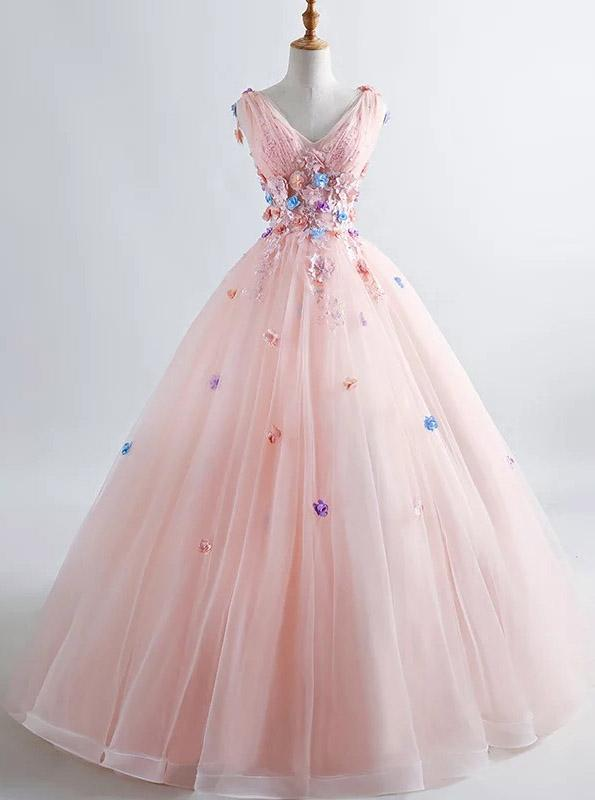 princess blush ball gown 3d floral applique v neck prom quinceanera dress mp839