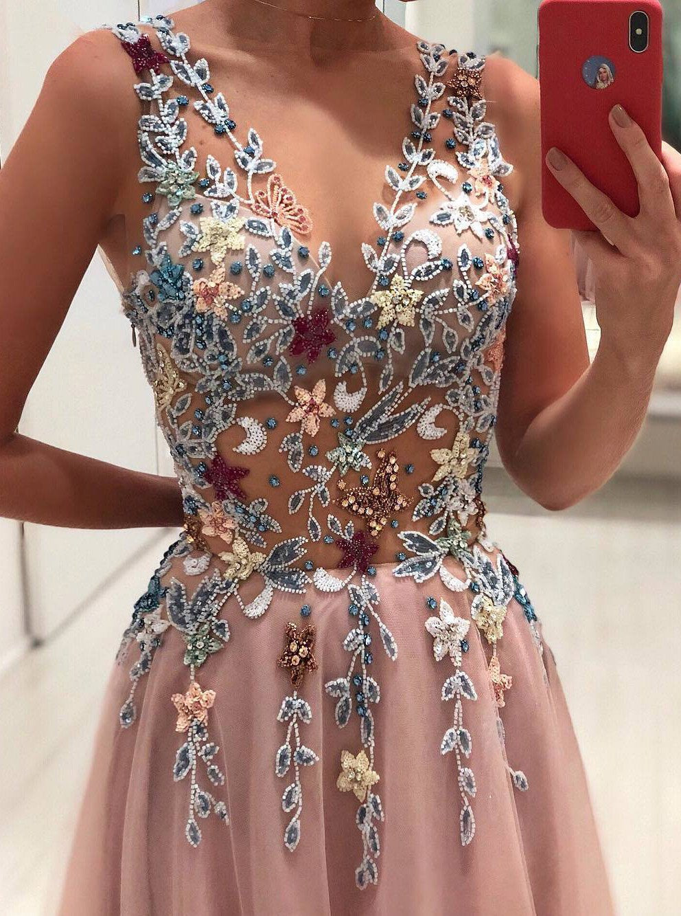 princess v neck floral beading appliques pink long prom dress mp940