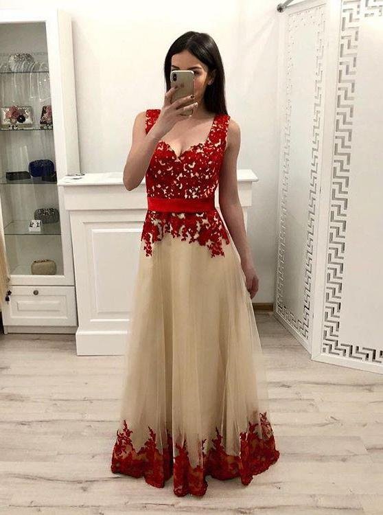 red appliques tulle prom dress straps a line school dance dress mp729