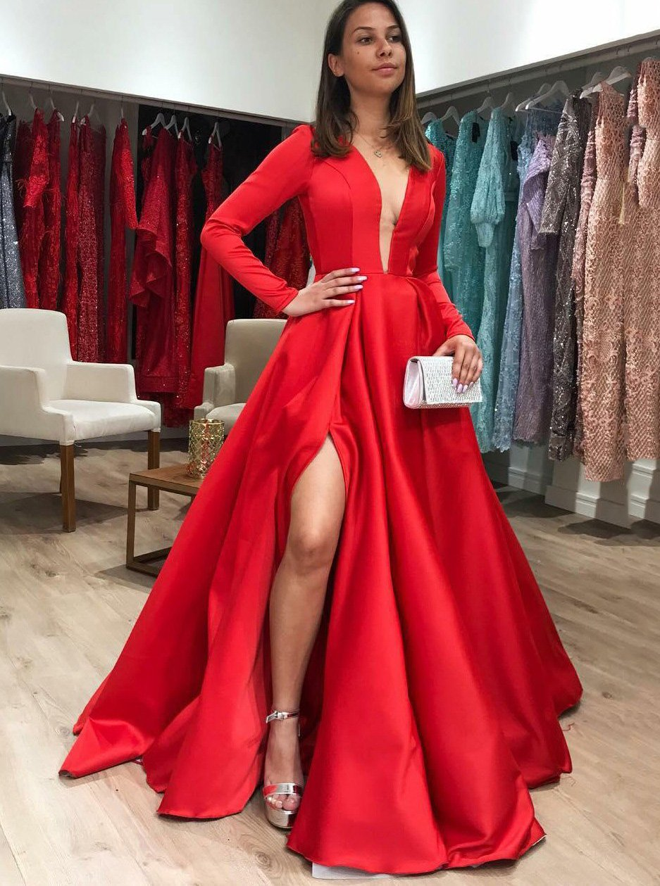 Red Satin Formal Dress Long Sleeve Plunging V-Neck With Slit MP708
