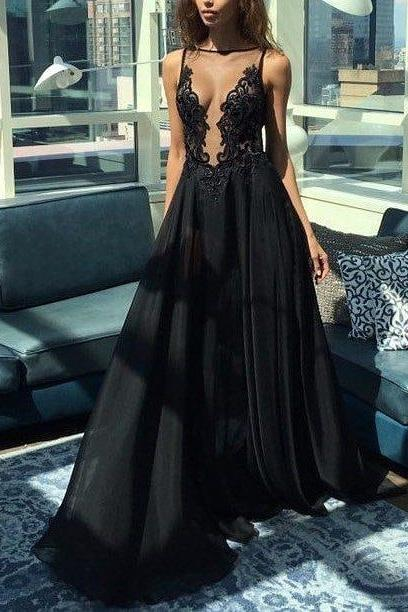 sexy backless prom dresses illusion a line black evening dress mp804