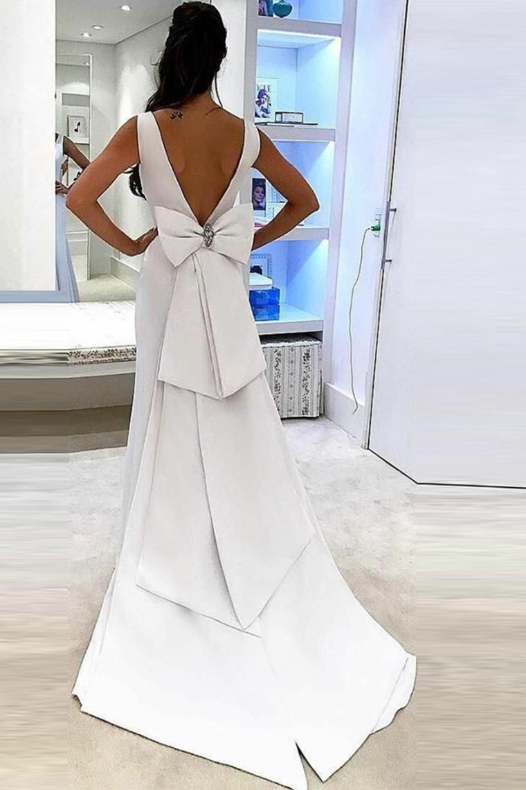 sexy bow knot back mermaid wedding dresses satin v neck bridal gowns pw241