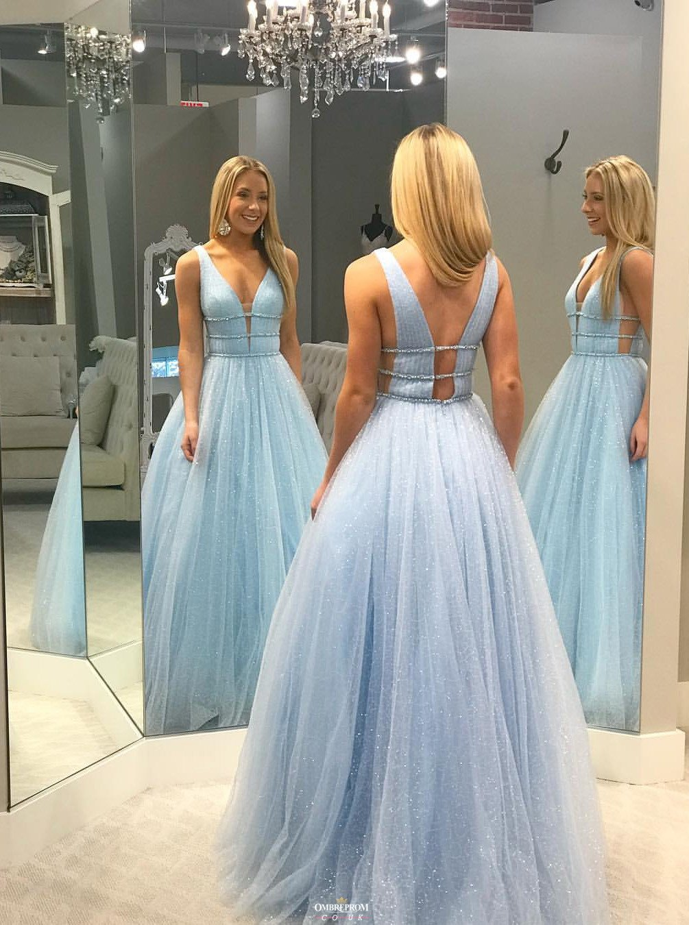 shiny v neck tulle beading long prom dress, sparkle long formal dress mp769