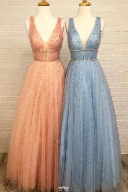 A-Line V-Neck Long Light Blue Prom Dresses with Beading MP218