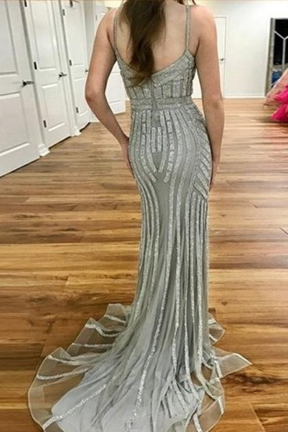 sparkly long spaghetti straps beading tulle mermaid prom dress mp975
