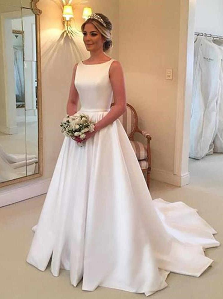 simple a line bateau satin backless wedding dress with train pw224