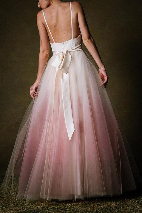 A-line Ombre Prom Dress Low Back Simple Long Evening Gown GP28