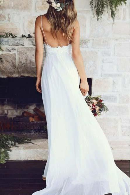 simple chiffon spaghetti backless beach wedding dress with applique pw227