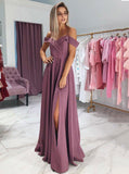 Simple Off-Shoulder Prom Dress Long Bridesmaid Dresses With Slit MP817