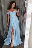 simple off shoulder prom dress long bridesmaid dresses with slit mp817