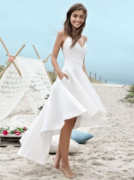 backless beach wedding dress with pocket, simple spaghetti high low wedding dress pw223
