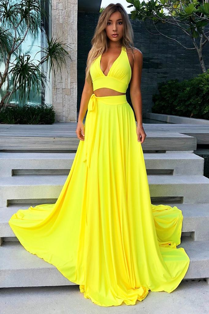 simple yellow halter v neck two piece long prom dress with split mp952