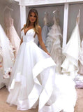 A Line Simple Wedding Dress Backless Bridal Gown With Deep V Neck PW320