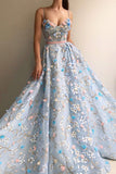 sky blue long prom dresses 3d mesh flower applique ball gowns mp846