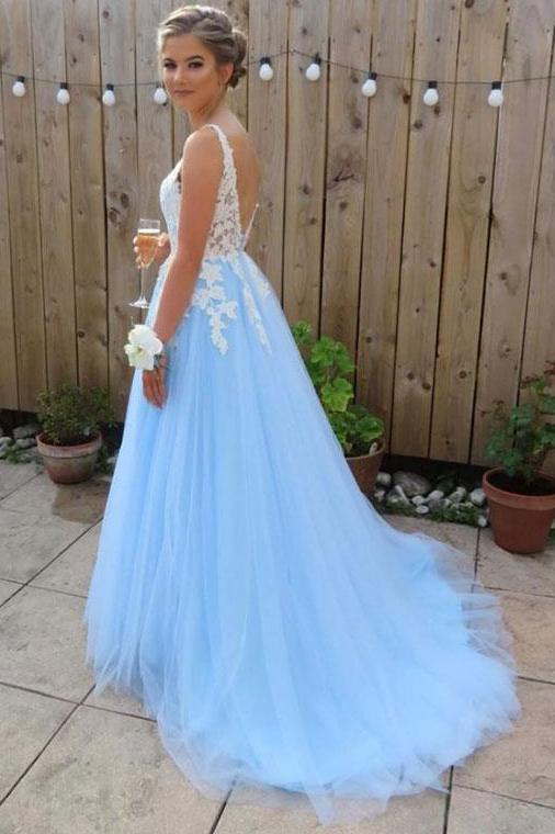 sky blue long prom dresses for teens tulle graduation party dresses mp802