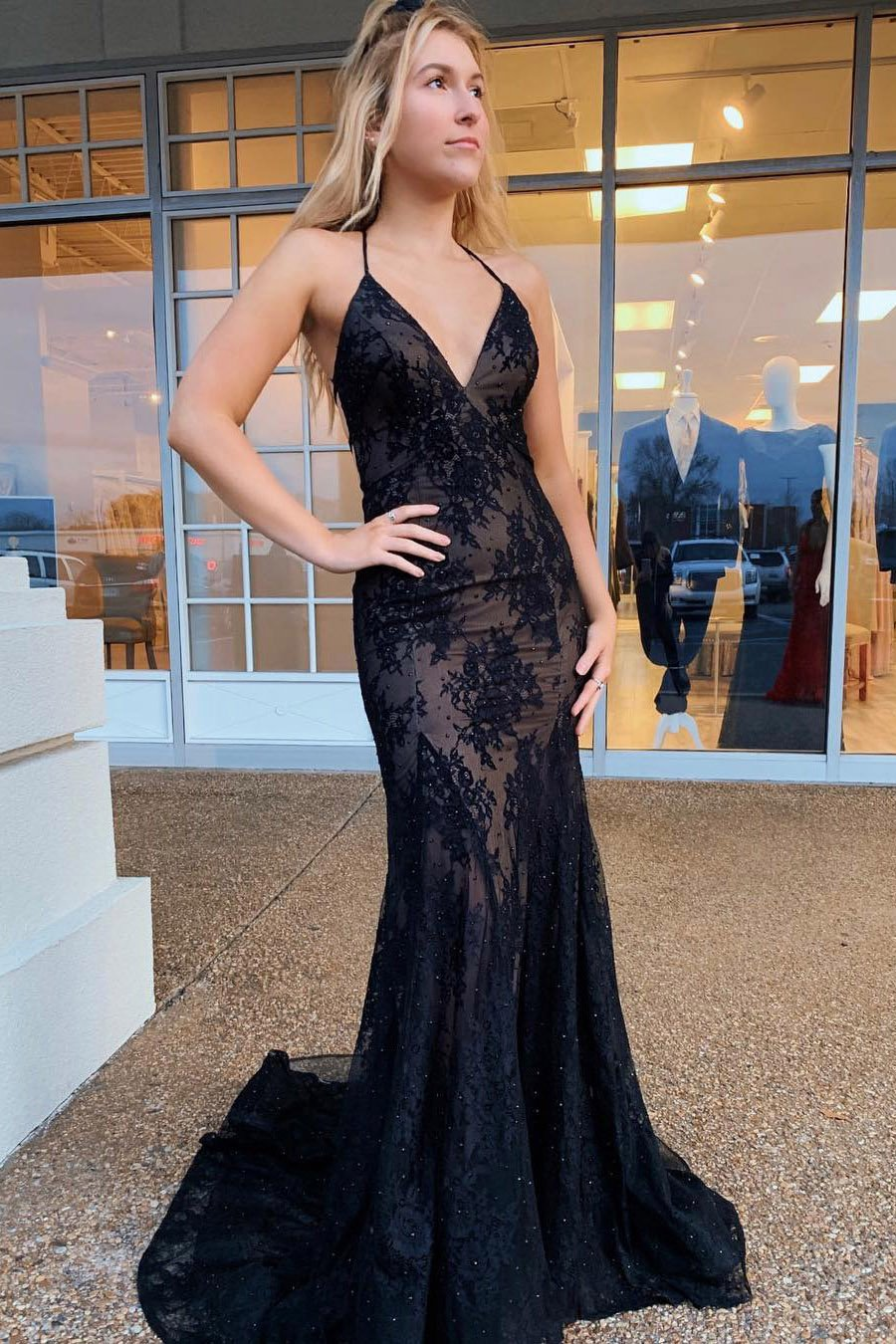 spaghetti straps mermaid prom dress v neck tulle backless party gown mp712