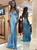 sparkly blue v neck sequins mermaid prom dress backless evening gown mp796
