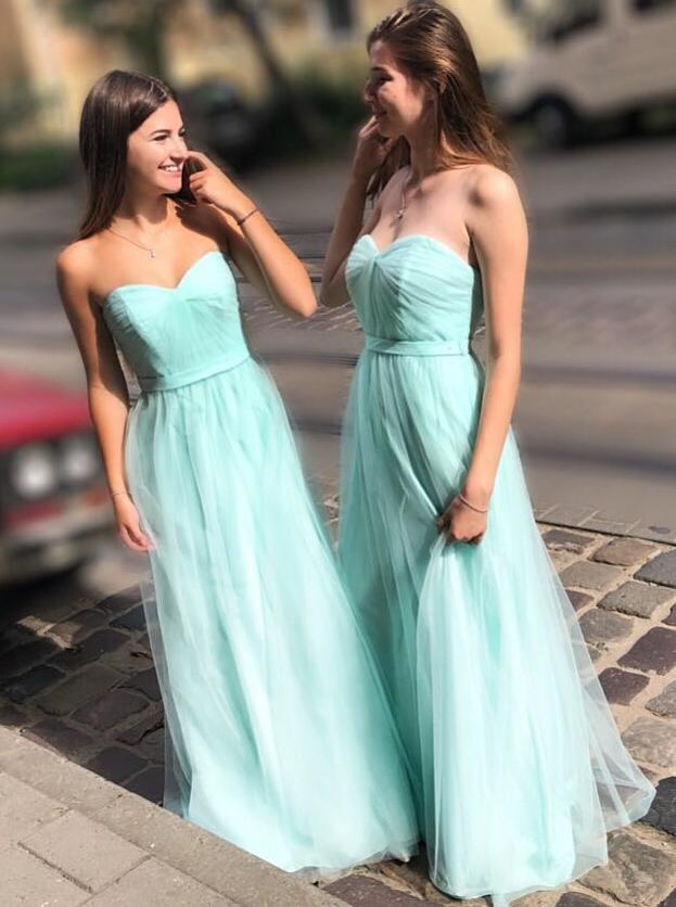 spring mint green sweetheart tulle long bridesmaid dresses pb149