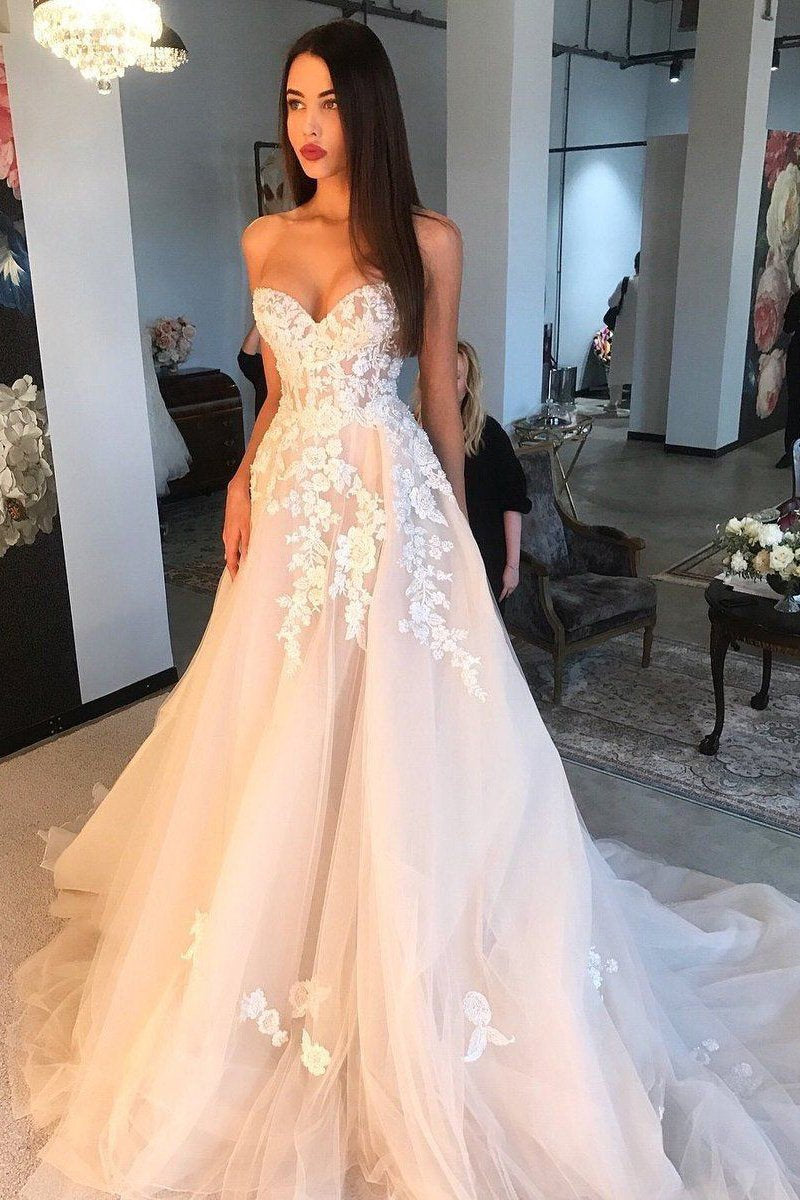 a line sweetheart sleeveless tulle wedding dress with applique pw262