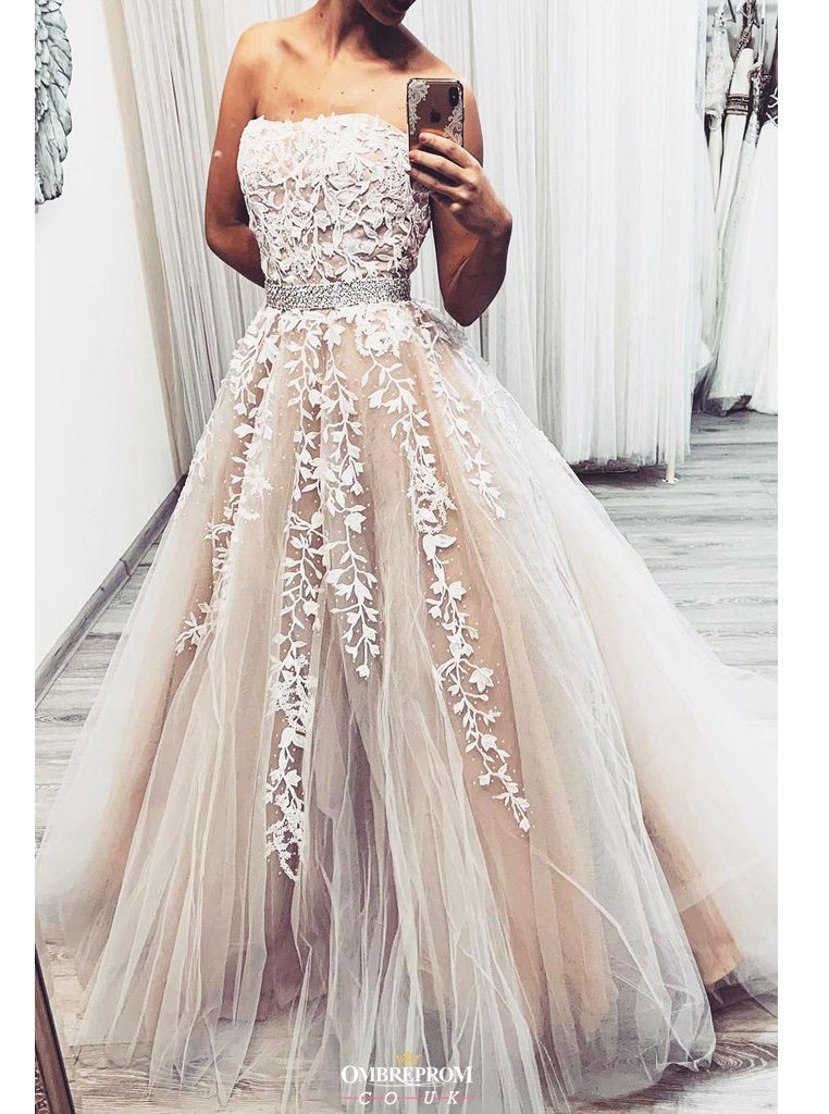 strapless lace appliques tulle long prom wedding dress with beading mp756