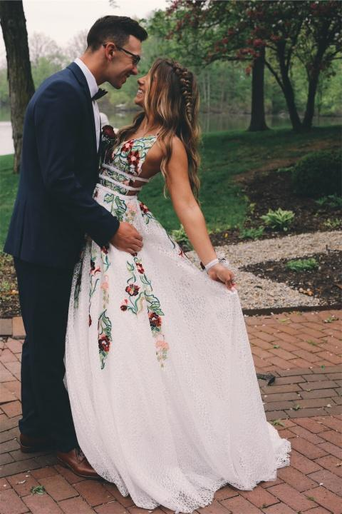 straps lace long prom dress with embroidery a line v neck backless mp963