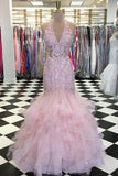trumpet v neck lace bodice beaded pink prom dress with ruffles mp717