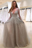 tulle long sleeves prom dress a line v neck with beading mp890