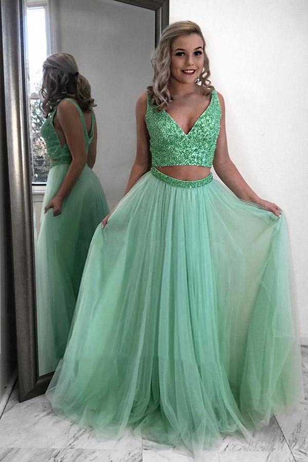 two piece prom dress mint green beading v neck tulle party dress mp835